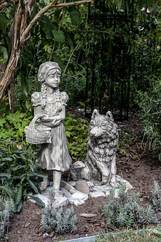 Little Red Riding Hood And Wolf, Stone Sculpture