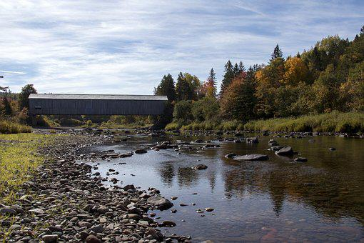 Water, Nature, River, Outdoors, Tree, Covered Bridge