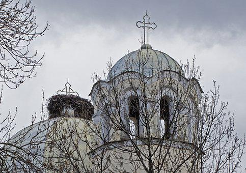 Stork Nest On Church, Orthodox, Sunday, Stork, Nest