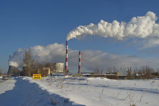 Winter, Snow, Pairs, Sky, Smoke, Industry, Energy