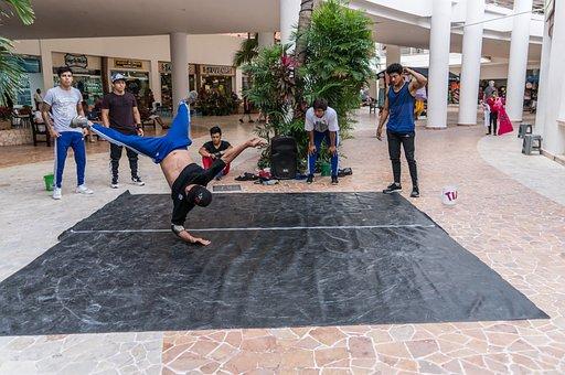 Acrobat, Performance, Mexico, Street, Pavement, City