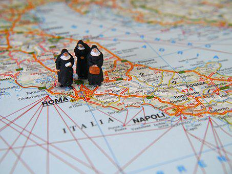 Nuns, Italy, Travel, Vatican, Poster, Miniature