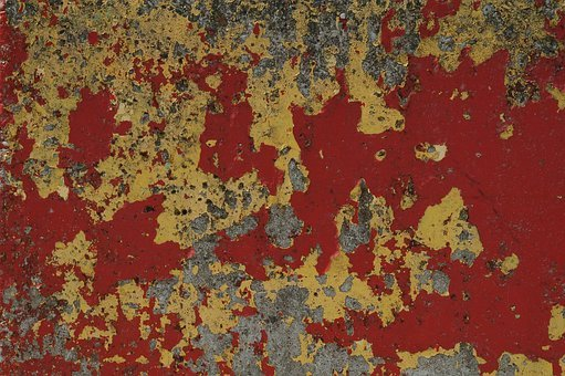 Pattern, Structure, Red, Yellow, Concrete, Paint, Flake
