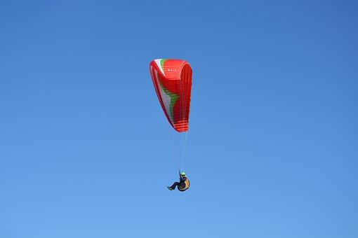 Paragliding, Red Sail, Blue Sky, Saint Appeared Beach