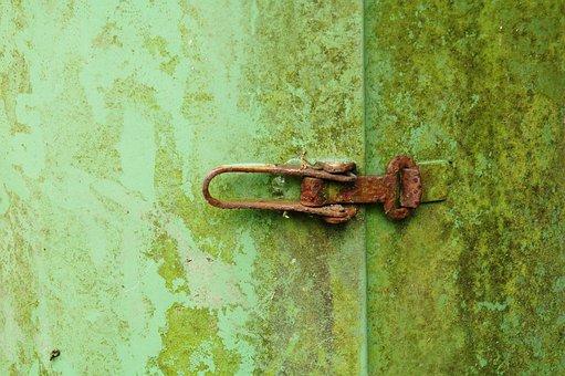 Green, Old, Rusty, Lock, Trash Can, Moss, Bemost