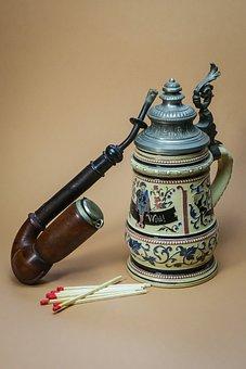 Pipe, Beer Mug, Beer, Drink, Tobacco, Smoking, Sat
