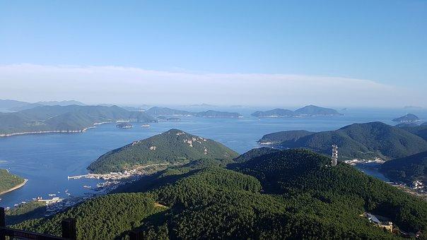 Nature, Mountain, Travel, Sea, Tongyeong, Sky, Island