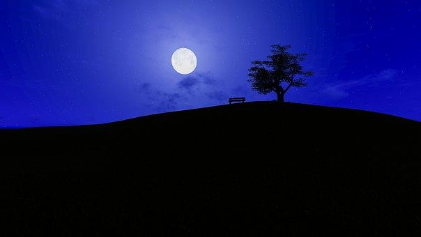 Moon, Sky, Dusk, Light, Silhouette, Panoramic