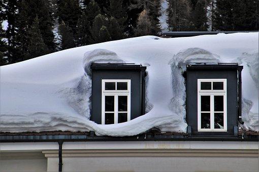Snow, Attic, Facade, High, Winter, Hotel, House, Cold