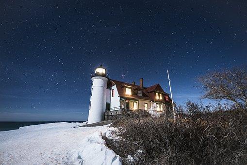 Lighthouse, House, Snow, Beacon, Stars, Starry Sky