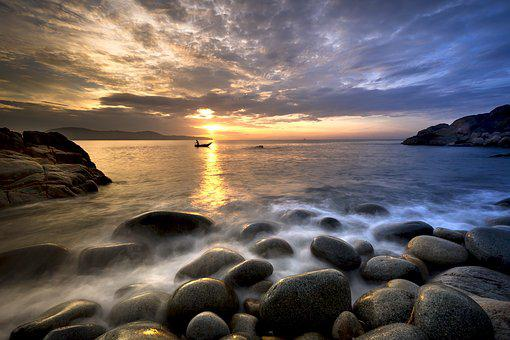 The Beach, Gravel, The Morning, Rock, The Sea