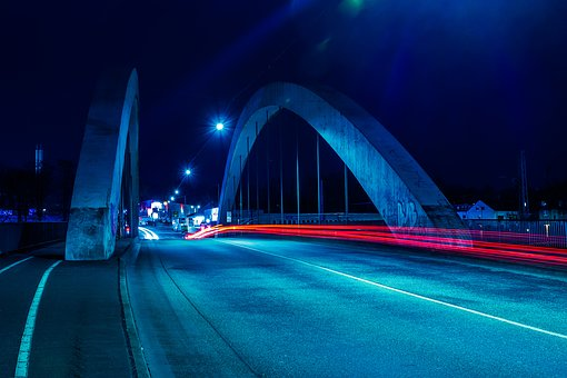 Traffic, Bridge, Transport System, City, Dusk, Road