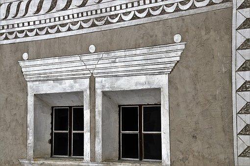 Frescoes, Style Alpejko, Architecture, The Door, Window