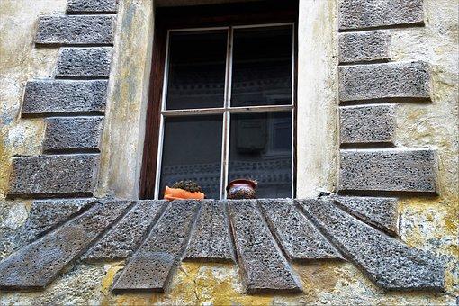 House, Lake Dusia, Stone, Architecture, Window, Model