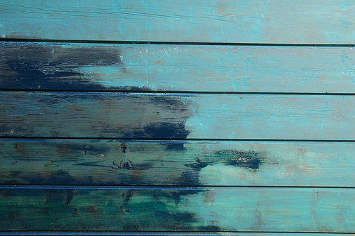 Wood, Wall, Barn, Shelf, Blue, Petrol, Painting