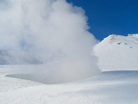 Fumarole, Pairs, Post, Winter, Snow, Coldly, Frost