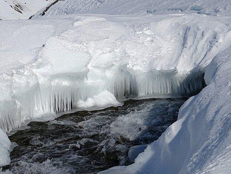 Mountain River, Gully, Polynya, Winter, Frost, Frazil