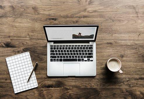 Laptop, Wood, Display, Aerial, Background, Blog