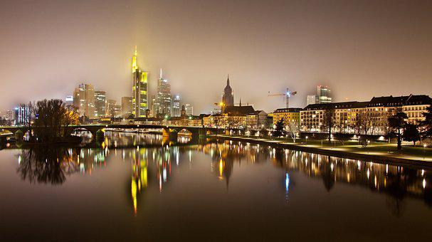 Night Photograph, Frankfurt, Westhafen, Port, Dri, Hdr