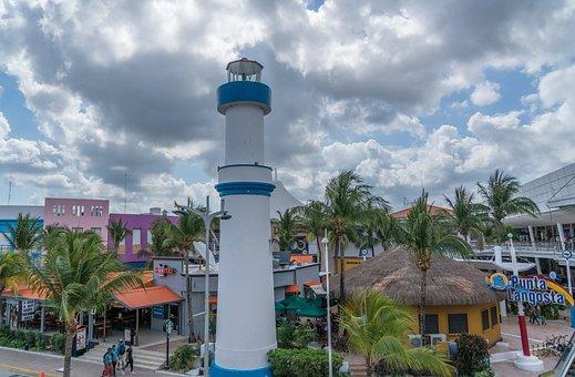 Light House, Cozumel, Mexico, Travel, Palm, Tourism