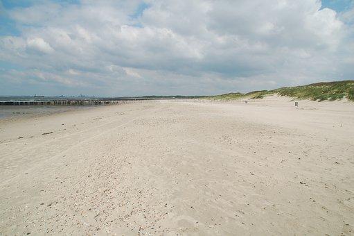 Sand, Beach, Clouds, Air, Vrij, Freedom, Light, Space