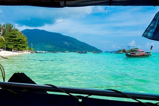 Thailand, Boot, Beach, Blue, Sea, Water, Ship, Ocean