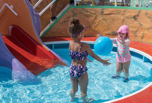 Spring Break, Children, Playing, Dug-out Pool, Slide