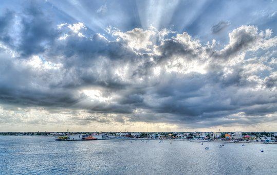 Clouds, Sun Rays, Water, Panoramic, Sky, Nature, Sea