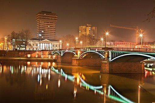 Night Photograph, Frankfurt, Westhafen, Port, Dri, Hdr