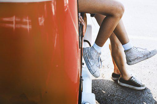 Woman, People, Adult, Wet, Car, Couple, Enjoyment, Feet