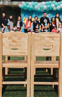 Wood, Wooden, Chair, Smiley Face, Seat, Nursery