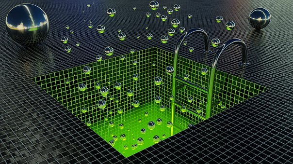 Background, Abstract, Metal, Balls, Tiles, Green, 3d