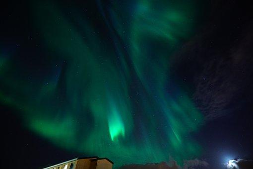 Aurora, Northern Lights, Green, Blue, Bluish