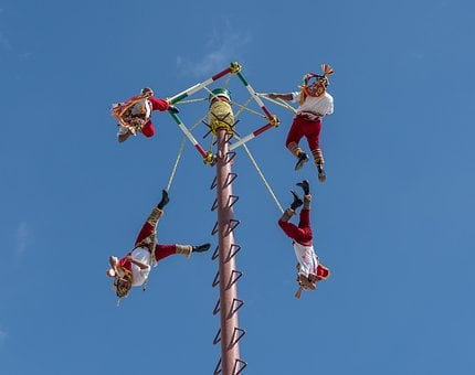 Acrobats, Flying, Cozumel, Mexico, Performance