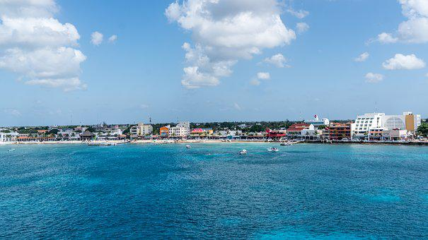 Sea, Water, Travel, Panoramic, Sky, Clouds, Cozumel