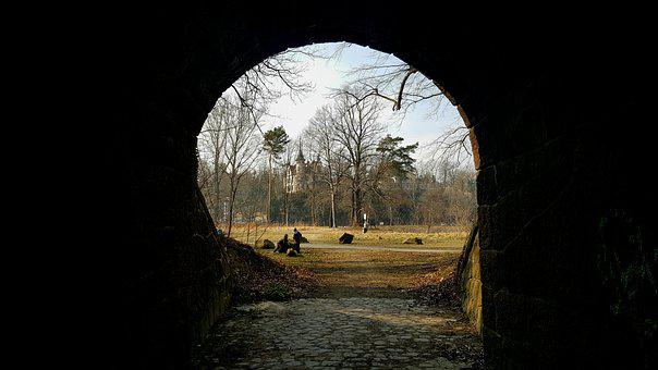 Nature, Darkness, Light, Panorama, Tunnel, Castle