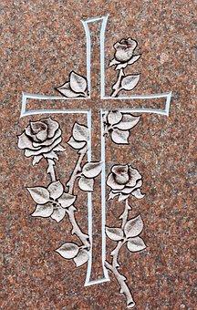 Cross, Tombstone, Gravour, Granite, Christian, Grave