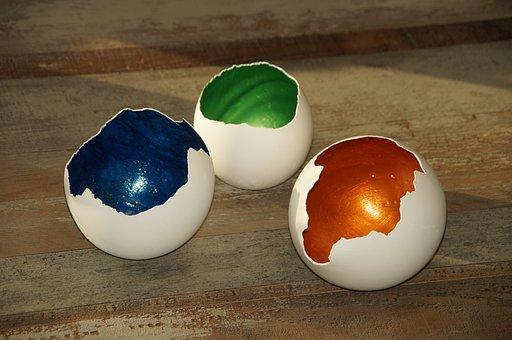 Diy, Shell, Eggshell, Gold, Green Blue, Easter