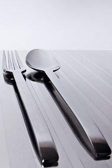 Fork, Spoon, Steel, Silver, Breakfast, Table, Laying