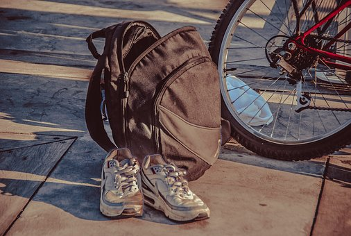 Old, Travel, Bicycle, Slippers, Backpack, Life, Summer