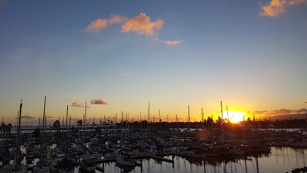 Sunset, Dawn, Water, Panoramic, Sky, Marina, Dusk