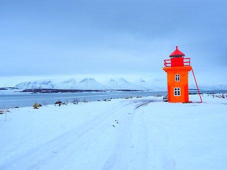 Lighthouse, Tower, Orange, Colorful, Svalbarðseyri