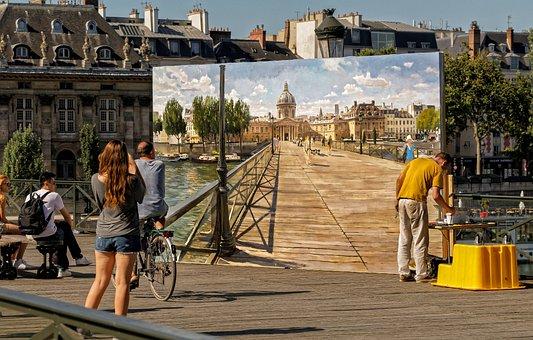 Paris, Pont Des Arts, City, Seine, Character, Painting