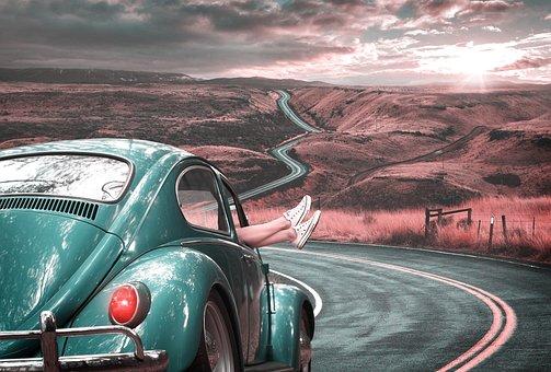 Travel, Love, Road, Lines, Landscape, Sky, Sun, Clouds