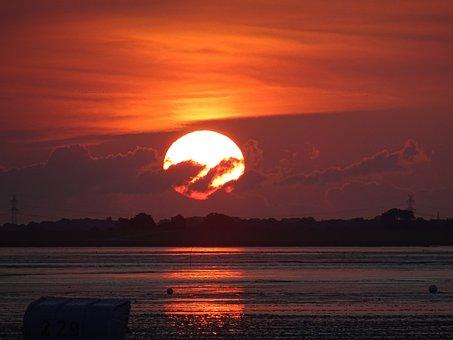 Sunset, Dawn, Dusk, Sun, Waters, Dangast, Wadden Sea
