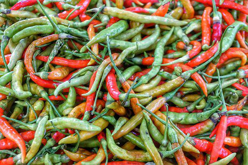 Green, Red, Chilli, Mix, Marketplace, Food, Vegetable