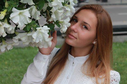 Lovely, Woman, Girl, Flowers, Portrait, Outdoors