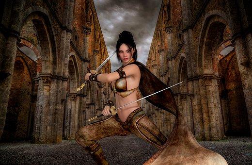 Woman, Warrior, Art, Adult, Female, Warrior Woman