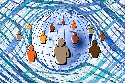 Social Media, Digitization, Faces, Board, Circuits