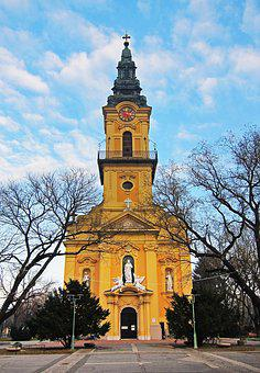 Church, Hungary, Yellow, Fall, Hungarian, Religion